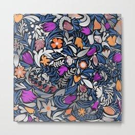 Colorful Silver Floral Leaf Illustration Pattern Metal Print