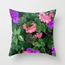 Pink and purple garden Throw Pillow