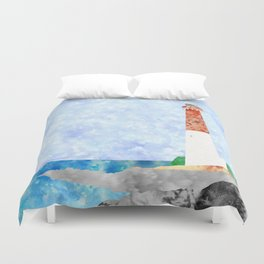 Watercolor Collage Lighthouse Duvet Cover