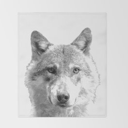 Black and White Wolf Throw Blanket