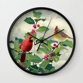 Cardinals on Tree Top Wall Clock