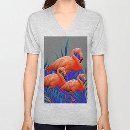 Decorative Tropical  Florida Flamingos Blue-Grey Patterns Unisex V-Neck
