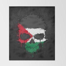 Flag of Palestine on a Chaotic Splatter Skull Throw Blanket