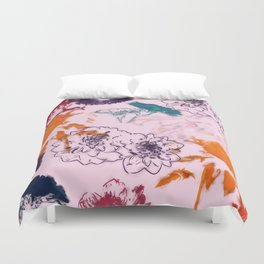 fall floral pink Duvet Cover