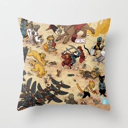 CAT VS MICE Throw Pillow