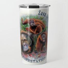 Save the Orangutans Watercolor Illustration Travel Mug