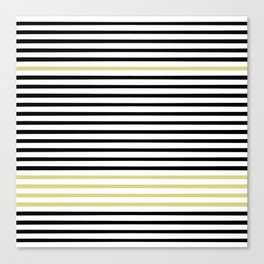 Black and White and Gold Stripes (Striped Pattern) Canvas Print