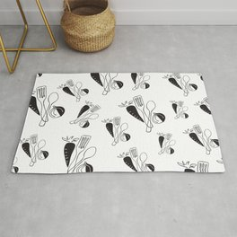 eat healthy (spoon, cooking utensils, carrot, onion) Rug