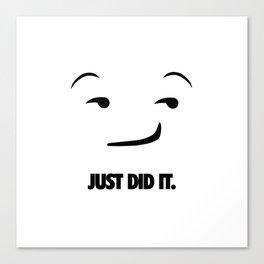 Just Did It Emoji. [Sport Slogan Parody] Canvas Print