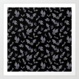 Bats Black Art Print