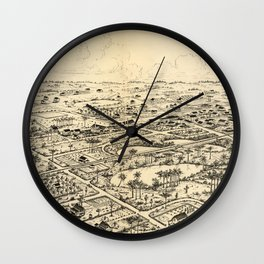 Vintage Pictorial Map of Longwood Florida (1885) Wall Clock