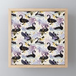 Black swans | off white Framed Mini Art Print