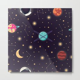 Universe with planets, stars and astronaut helmet seamless pattern 001 Metal Print