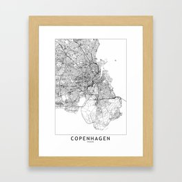 Copenhagen White Map Framed Art Print