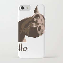 funny horse hello iPhone Case