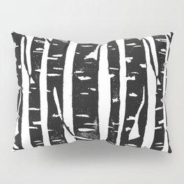 Woodcut Birches Black Pillow Sham