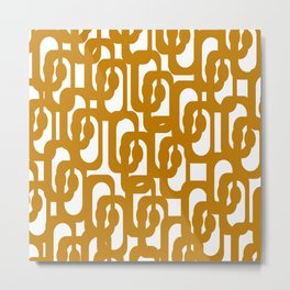 Midcentury Modern Loop Pattern in Dark Honey Mustard Gold and White Metal Print