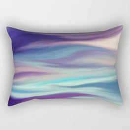 Painted digital silk texture blue colors Rectangular Pillow