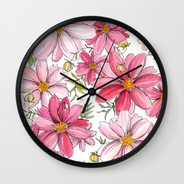 Pink Spring Flower Pattern Wall Clock