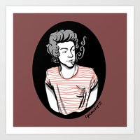 smoking Art Prints featuring Smoking by LePomiere
