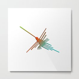 Colorful 3D Nazca Lines Hummingbird Metal Print