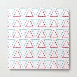 Triangular Peaks Pattern - Teal & Red #412 Metal Print
