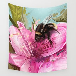 Bee on flower 17 Wall Tapestry