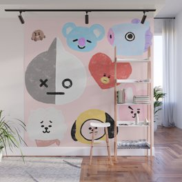 BTS21 Characters in Pastel Wall Mural