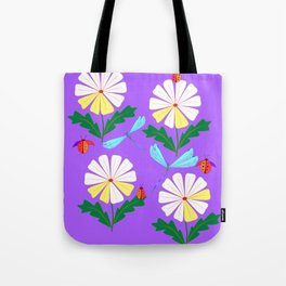 White Spring Daisies, Dragonflies, Lady Bugs lavender Tote Bag