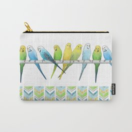 Row of Budgies Carry-All Pouch