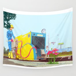 The asphalt cutter Wall Tapestry