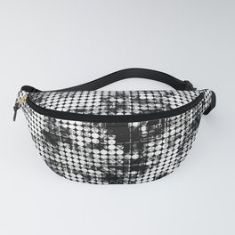 psychedelic circle pattern painting abstract background in black and white Fanny Pack