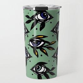 Evil eye _ intuition awakening_Hand Painted ink Travel Mug