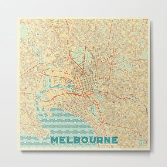 Melbourne Map Retro Metal Print
