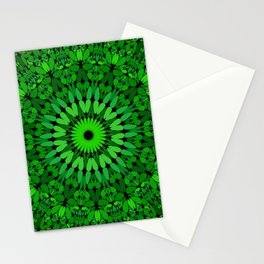 Deep Green Leaves Mandala Stationery Cards