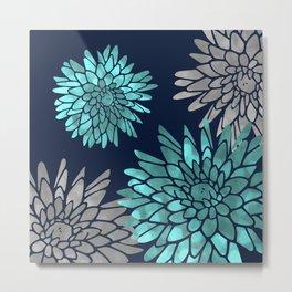 Floral Chrysanthemum Modern Navy Aqua Metal Print