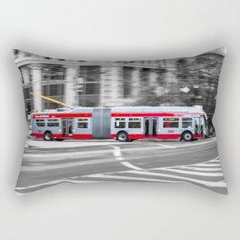 San Francisco Trolley Bus - BW background Rectangular Pillow