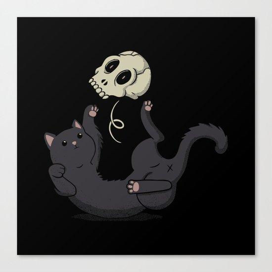 Skull Black Cat Canvas Print