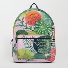 Succulent Circles on Pink Backpack