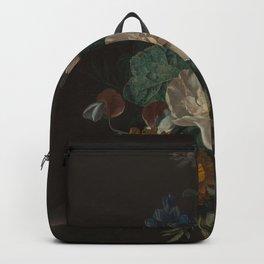 Jan van Huysum - Floral Still Life with Hollyhock and Marigold Backpack