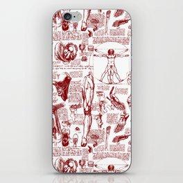 Da Vinci's Anatomy Sketchbook // Dark Red iPhone Skin