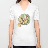 manga V-neck T-shirts featuring Manga 2 by Hector Gomez