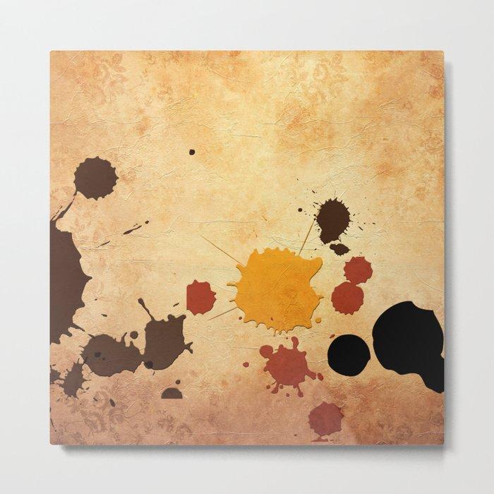 Abstract Indian Yellow Splash Metal Print