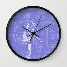 Carterpillar and Mushrooms Wall Clock