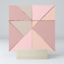 Modern rose gold peach blush pink color block Mini Art Print