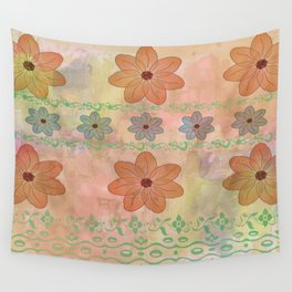 Orange floral pattern Wall Tapestry