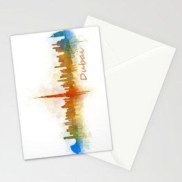 Dubai, emirates, City Cityscape Skyline watercolor art v3 Stationery Cards