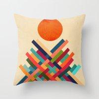 sun Throw Pillows featuring Sun Shrine by Picomodi