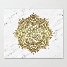 Gold mandala on marble Canvas Print