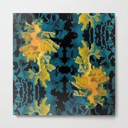 Abstract seadragons on black Metal Print